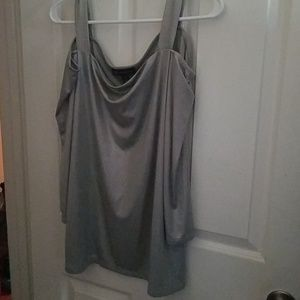 Shiny silver cold shoulder blouse